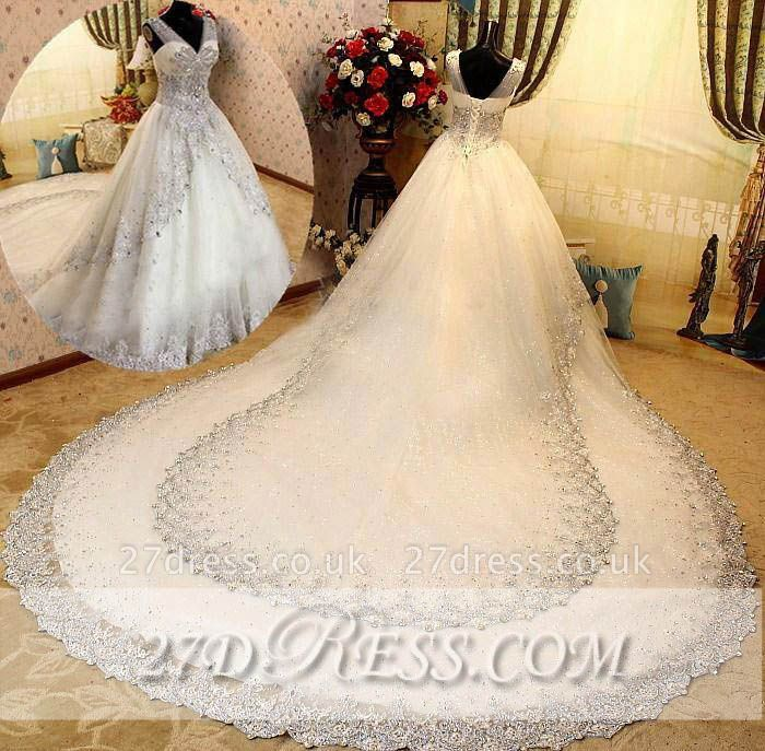 Elegant A-Line V-Neck Wedding Dresses UK Sleeveless Lace-Up Bridal Gowns with Beadss