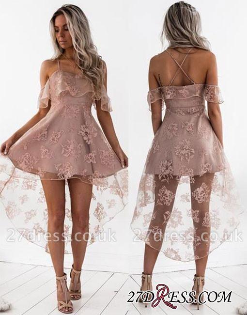 Short Hight-low Lace A-line Cute Homecoming Dress UK BA7000