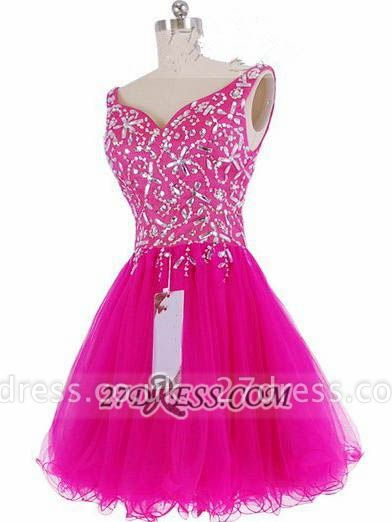 Luxurious Sweetheart Sleeveless Short Homecoming Dress UK Beadings Crystals Lace-up Fuchsia Cocktail Gown