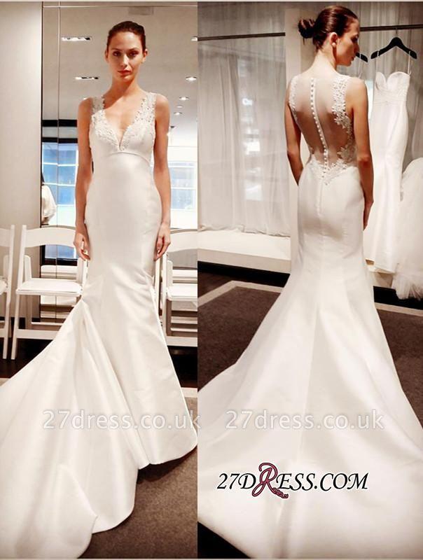 Zipper Sleeveless Button Sexy Mermaid Gorgeous V-Neck Lace Wedding Dress