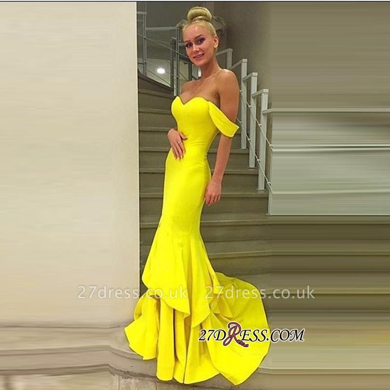 Off-the-Shoulder Elegant Sweep-Train Mermaid Prom Dress UK qq0248