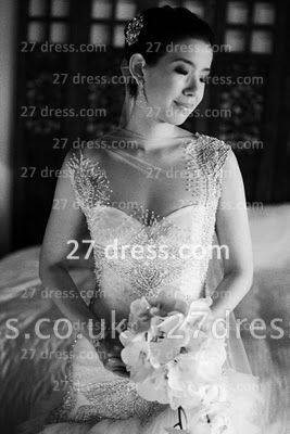 Bateau Wedding Dresses UK Bridal Gowns with Custom Made Backless Cap Sleeves Beaded Appliques Court Train A-line