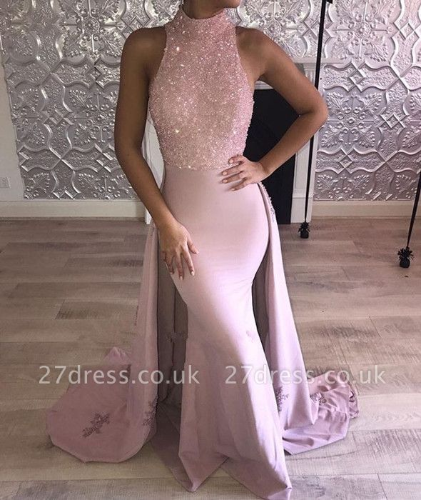 Sexy High-Neck Sleeveless Evening Dress UK Mermaid With Beads Ruffles BA7870