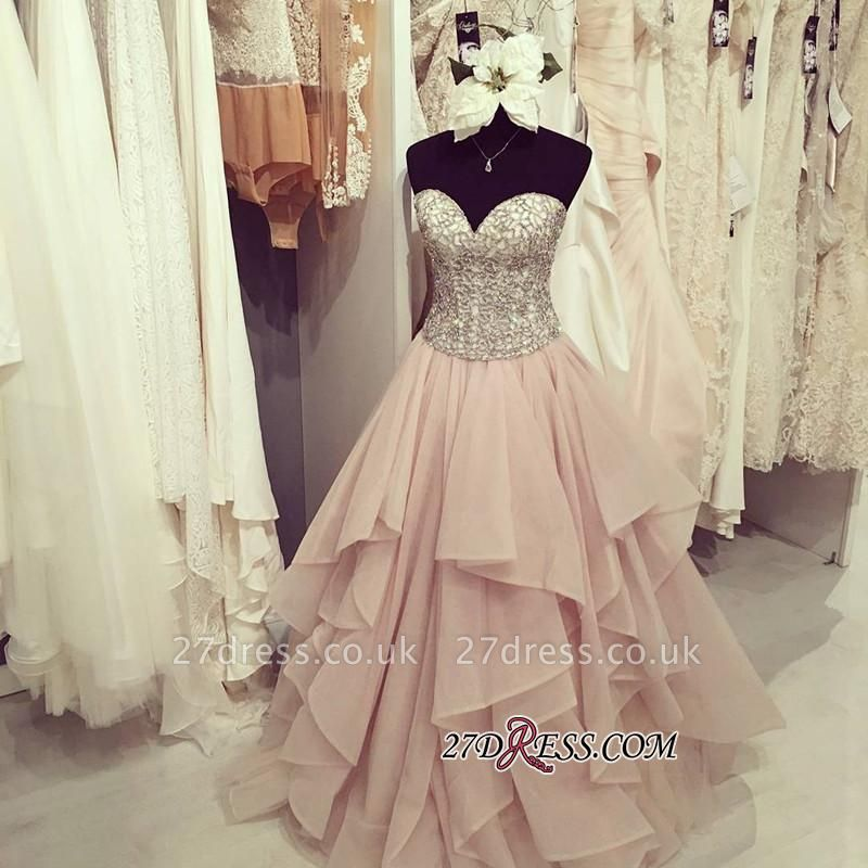 Sweetheart Floor-Length Beadings Luxury Ruffles Prom Dress UK