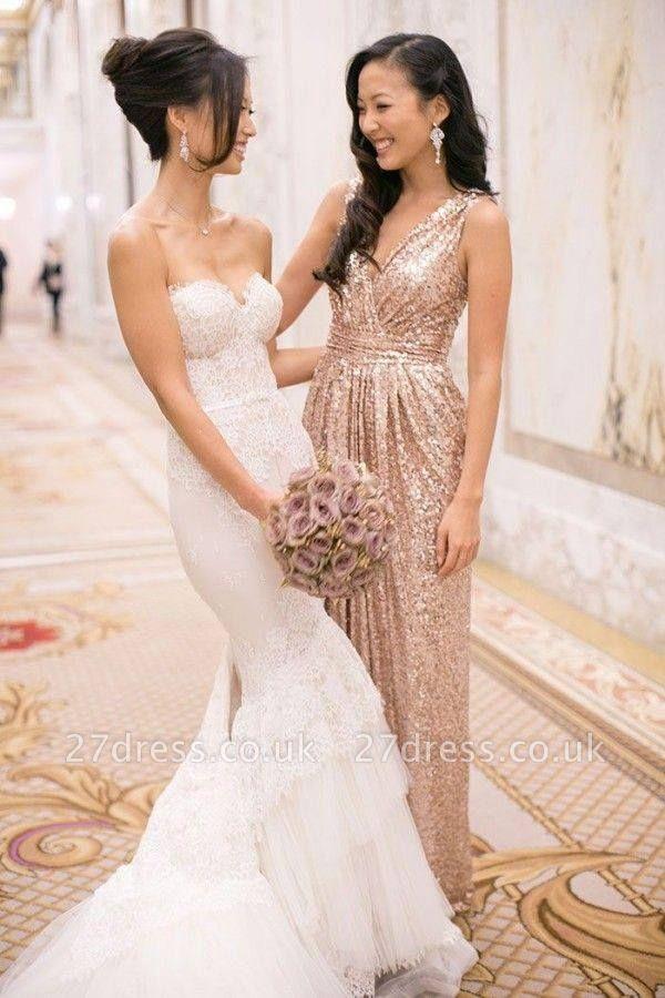 Gorgeous V-neck Sleeveless Bridesmaid Dress UK Floor-longth With Sequins