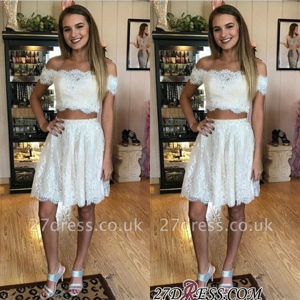 Lace Two-Piece Off-the-shoulder Delicate Short Homecoming Dress UK