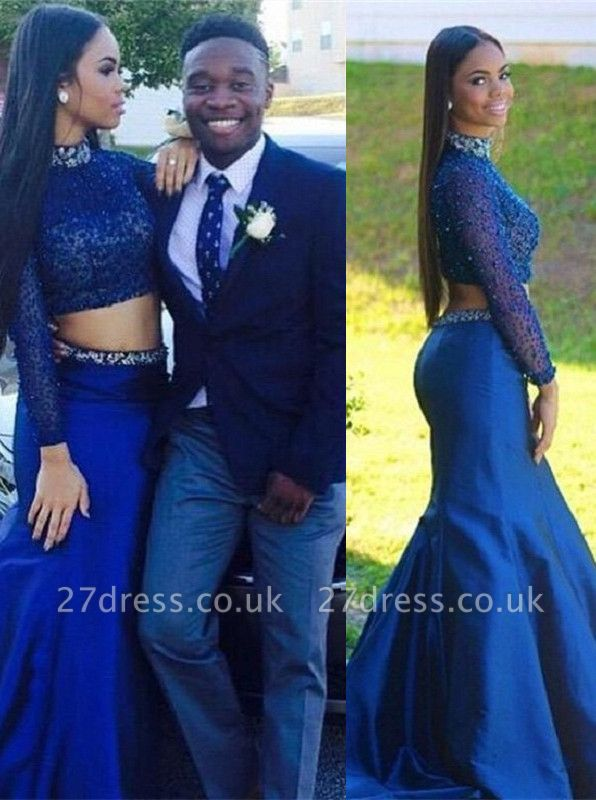 Elegant Mermaid Beadings Two Piece Prom Dress UK High Neck Sweep Train BA1375 BK0