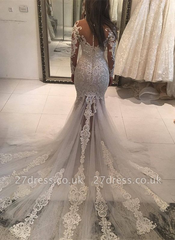 Long Sleeve Lace Wedding Dress | Sexy Mermaid Bridal Gowns On Sale