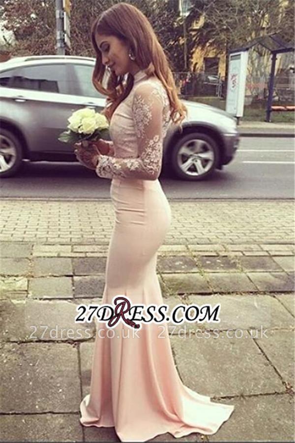 Gorgeous Appliques High-Neck Mermaid Long-Sleeves Bridesmaid Dress UKes UK BA4287