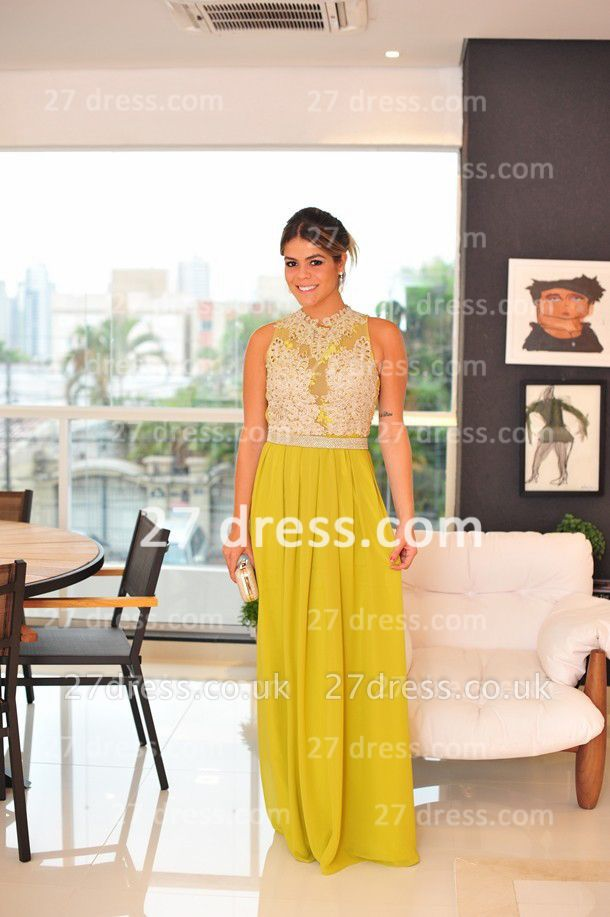 Evening Gowns Sleeveless Chiffon Vestidos De Fiesta Lace Top Prom Dress UKes UK