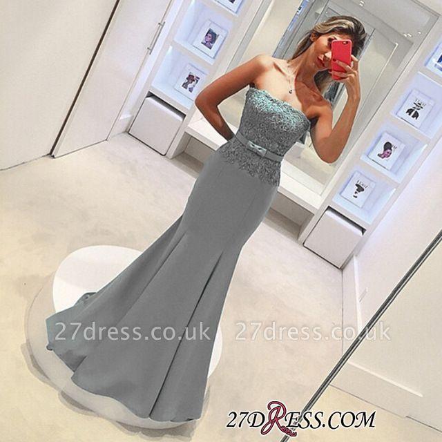Strapless Lace Sleeveless Delicate Mermaid Bow Prom Dress UK