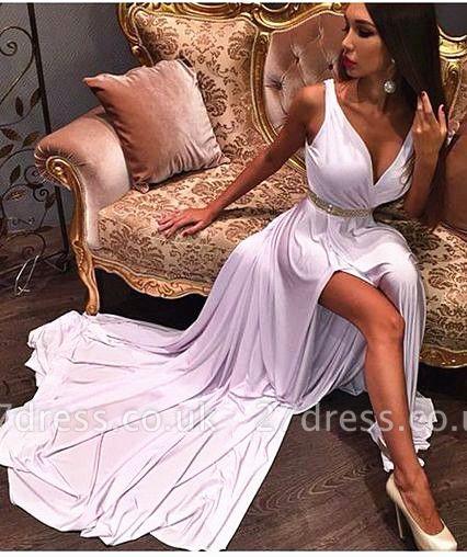 Elegant Deep V-neck Sleeveless Long Prom Dress UK With Front Split And Beadings