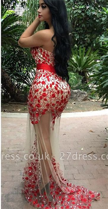 Elegant Red Sweetheart Prom Dress UK Mermaid Crystal Party Gowns