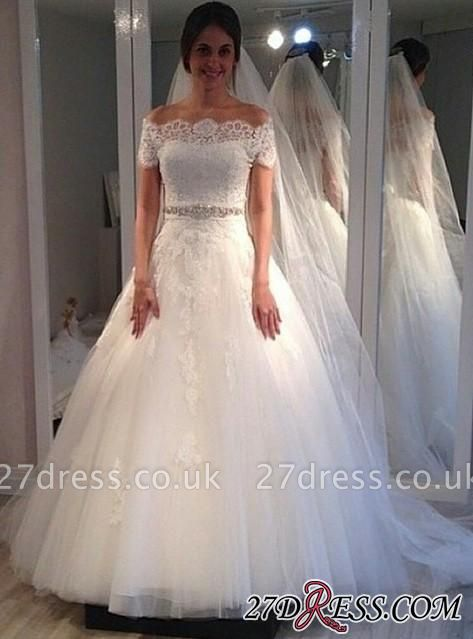 Off-the-shoulder Elegant Short-Sleeves Sweep-Train Lace A-line Wedding Dress