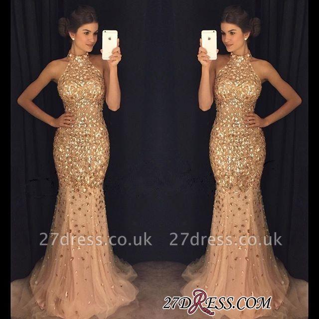 Newest Mermaid Crystals Sleeveless High-Neck Sweep-Train Prom Dress UK BA6613