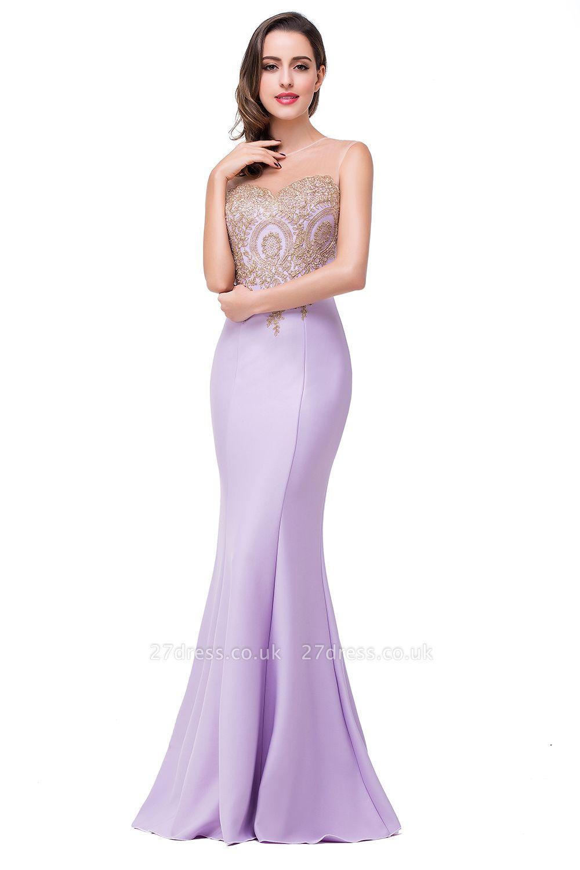 Elegant Illusion Appliques Mermaid Prom Dress UK Zipper Floor-length