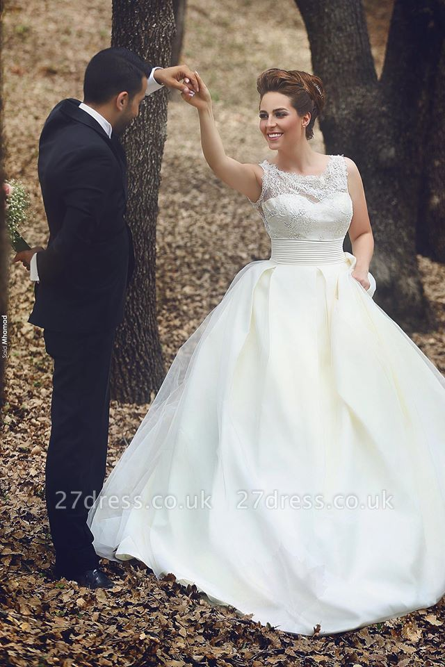 Elegant Ball Gown Illusion Wedding Dress Lace Appliques Sleeveless