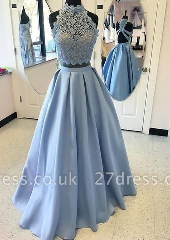 Two-pieces Blue Lace Long High-neck A-line Prom Dress UK