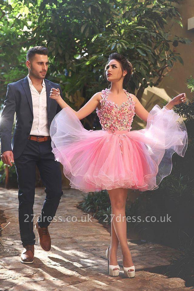 Newest Pink Flowers Homecoming Dress UK Mini Sleeveless Bowknot Sash