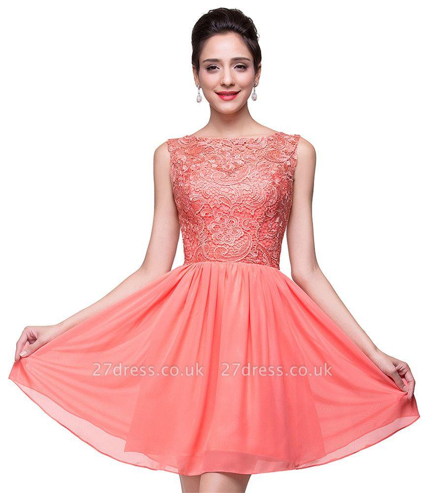 Lovely Lace Sleeveless Hoemcoming Dress UK Short Chiffon
