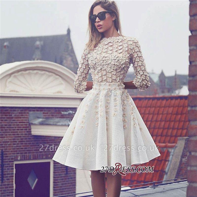Short Lace Flowers Gorgeous A-Line Homecoming Dress UK BA6905