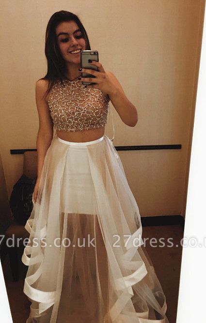 Gorgeous Halter Sleeveless Prom Dress UK With Beadings Ruffle Two Pieces