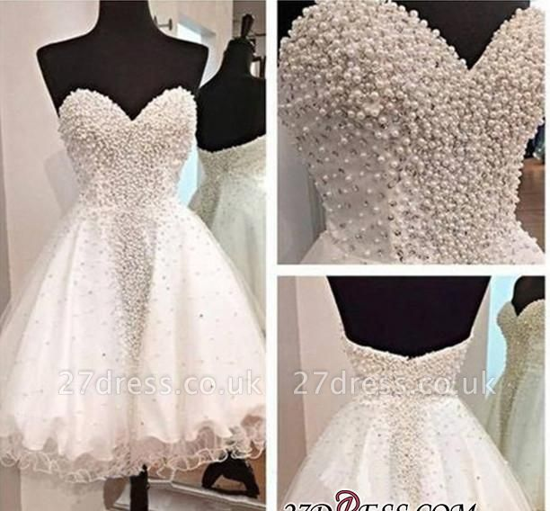 Open-Back Short A-Line Gorgeous Sweetheart Crystal Homecoming Dress UK