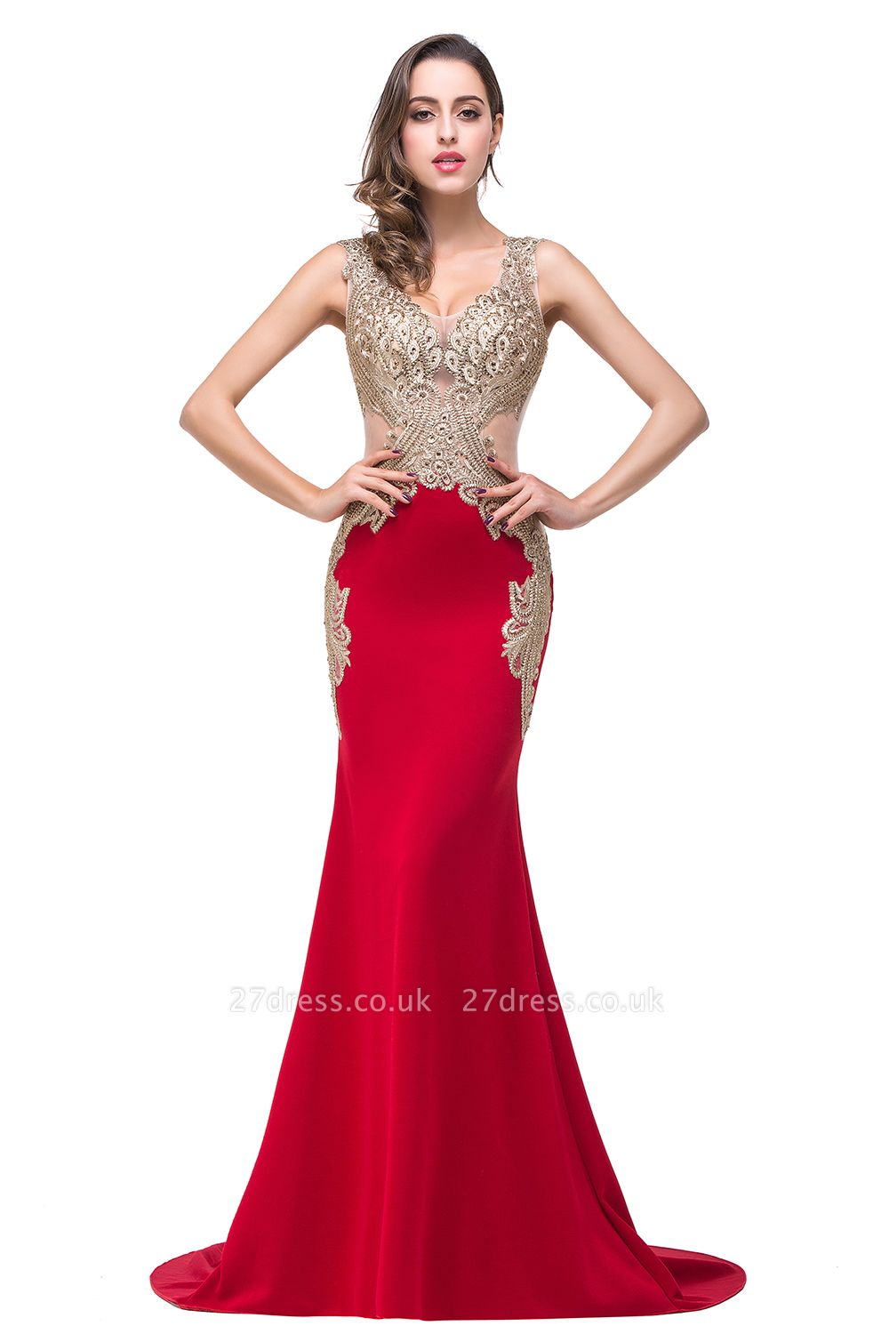 Delicate Mermaid Appliques Straps Prom Dress UK Sweep Train Sleeveless