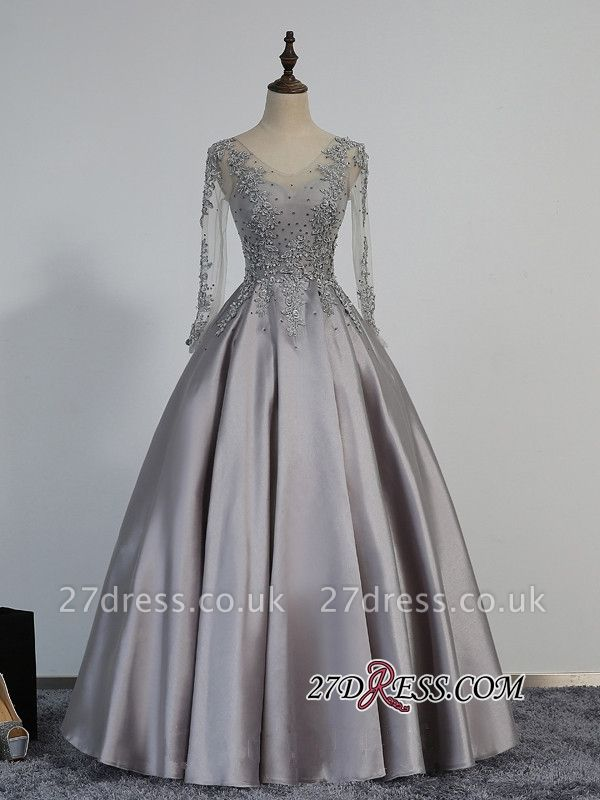 Modest Lace-Appliques Long-Sleeve Beading A-line Prom Dress UK