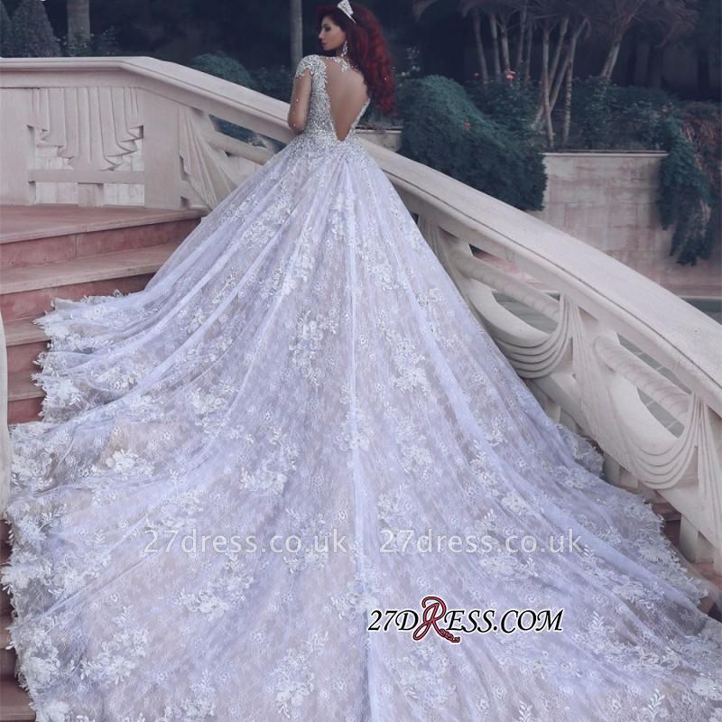 Glamorous Muslim Lace Beads Sheer Cathedral-Train Crystal Vintage Wedding Dress BA6920