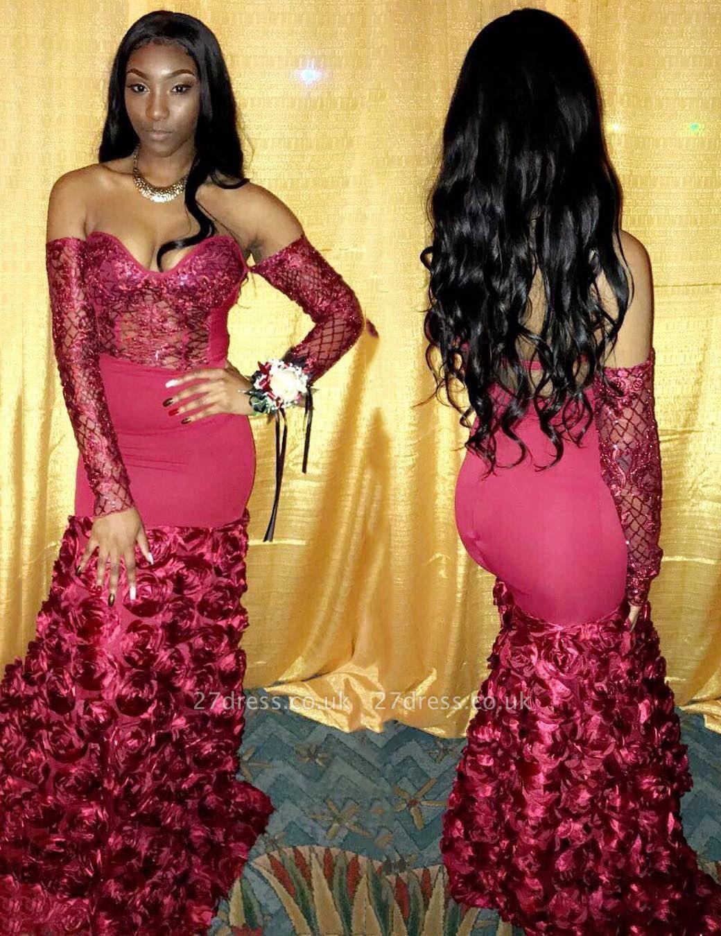 Elegant Off Shoulder Flowers Long Sleeve Prom Dress UK | Mermaid Prom Dress UK BK0