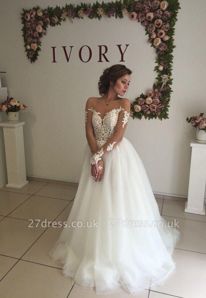 Elegant A-line Long Sleeves Wedding Dresss Applique Tulle Cheap