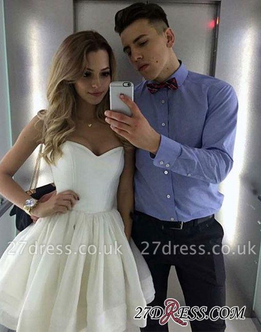 A-line White Sweetheart-neck Cute Short Homecoming Dress UK