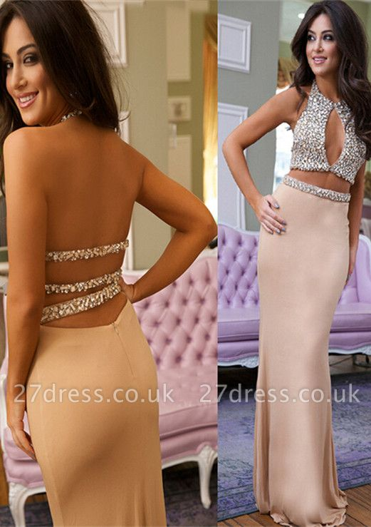 Luxury Crystals Mermaid Prom Dress UK Halter Two Piece