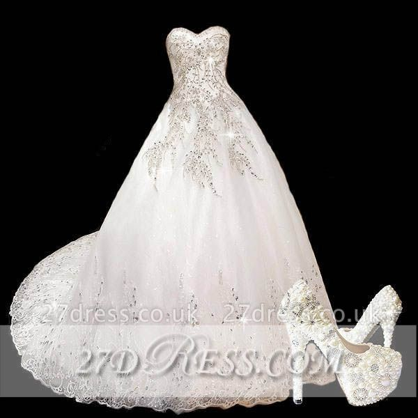 Modest A-Line Sweetheart Lace Wedding Dress Beaded Sweep Train Bridal Gowns