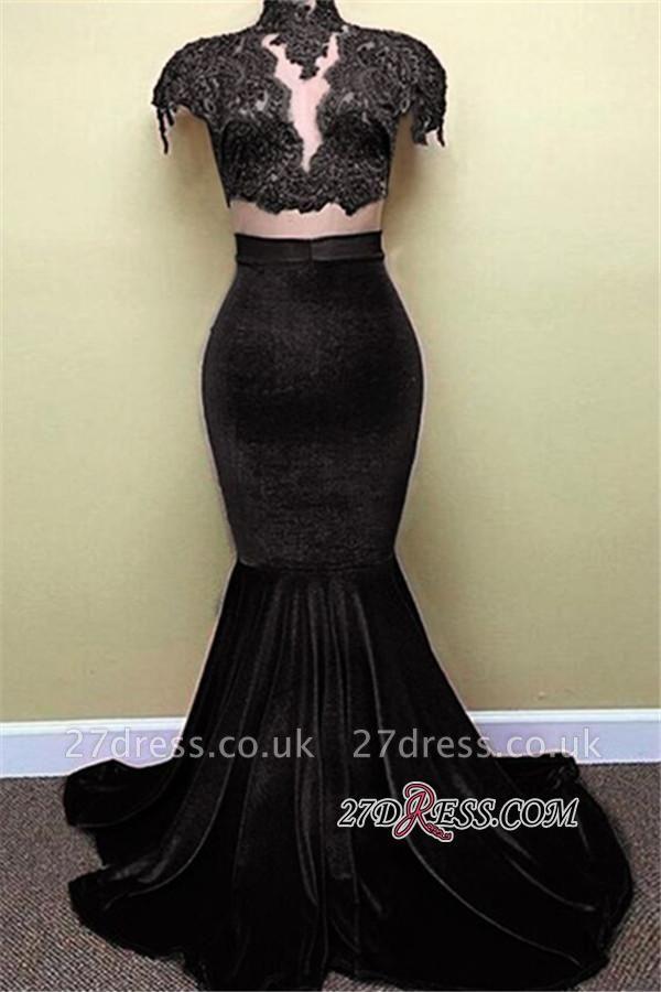 Lace Red Cap-Sleeves Velvet Mermaid Popular High-Neck Prom Dress UK BA5155