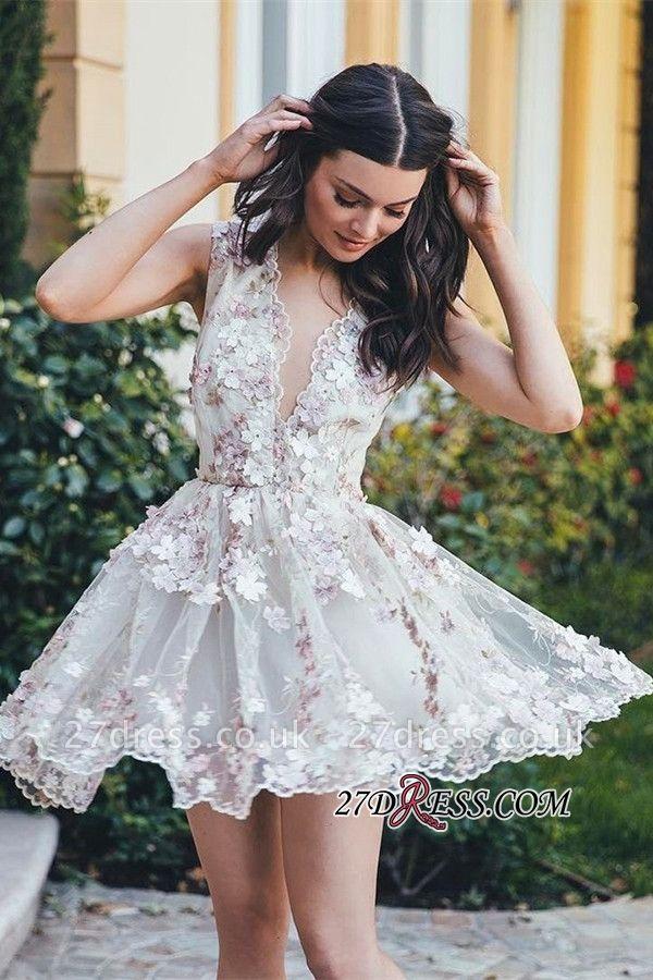 Sleeveless Sexy Short Flowers A-line Homecoming Dress UK
