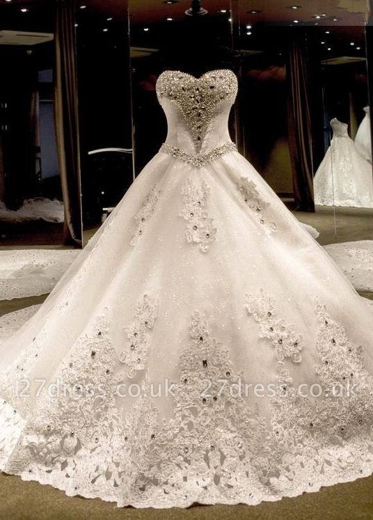 Glamorous Ball Gown Wedding Dresses UK Sweetheart Neck Crystals Lace-up Back Cathedral Train Bridal Gowns