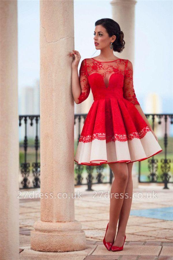 Elegant Red Illusion Mini Homecoming Dress UK Half Sleeve Zipper BA3268