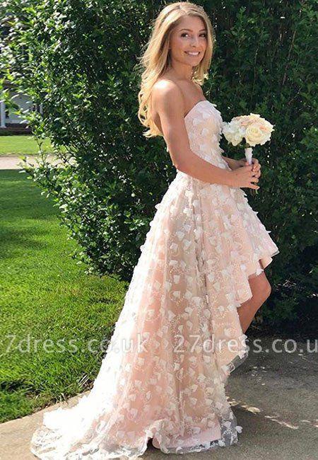 Strapless Hi-Lo Lace Appliques Prom Dress UK On Sale