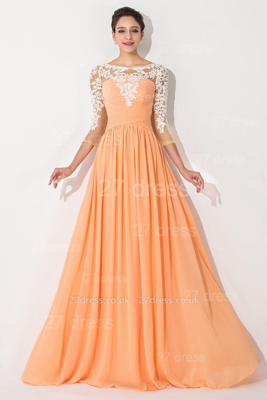 Sexy A-line Lace Chiffon Evening Dress UK 3/4-Length Sleeve