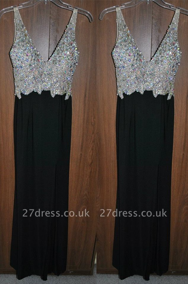 Newest Crystals A-line Straps Prom Dress UK Sleeveless Black