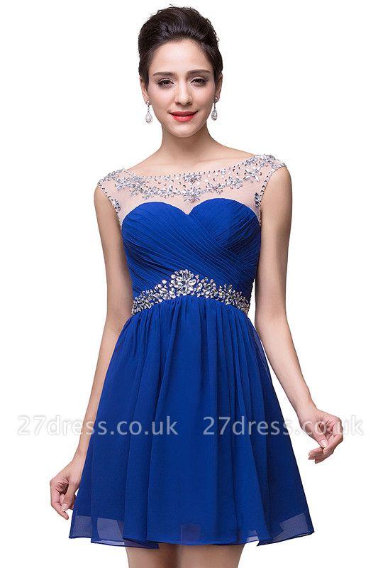Gorgeous Royal Blue Short Chiffon Homecoming Dress UK Cap Sleeve Beadings Cocktail Dress UK CPS094