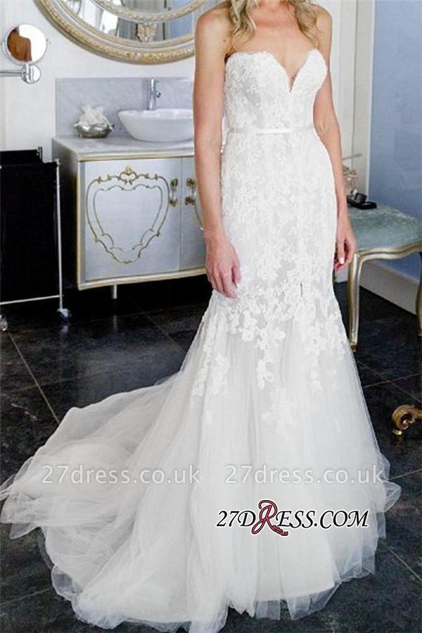 Lace Tulle Sheath Appliques Sweetheart Sleeveless Open-Back Front-Slit Wedding Dress