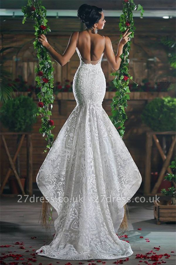V-Neck Sexy Mermaid Wedding Dresses UK Long Unique Lace Ope Back Tulle Straps Bridal Gowns