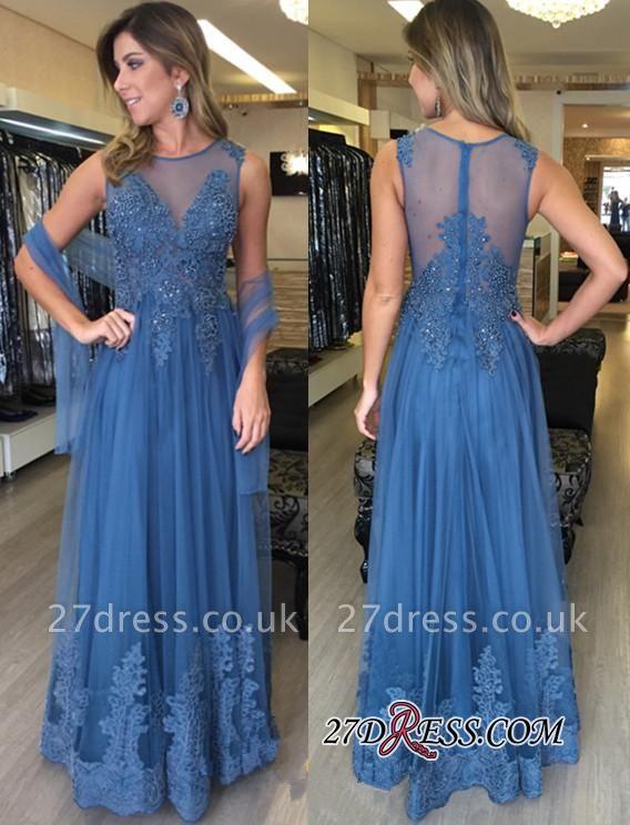 Sexy Zipper Sleeveless Floor-Length A-Line Applique Tulle Prom Dress UKes UK