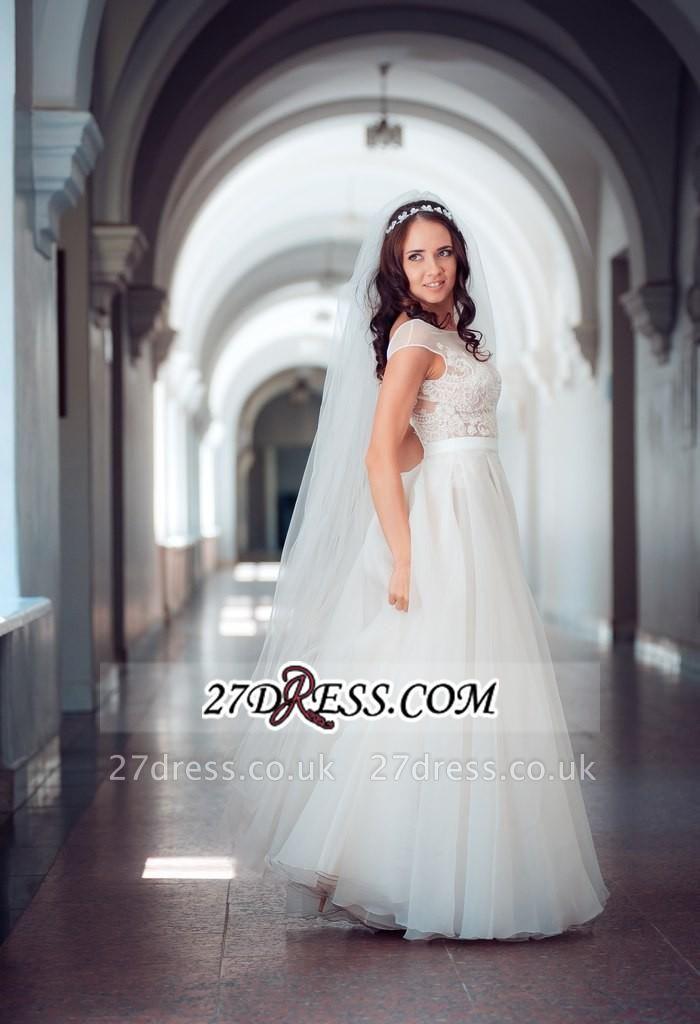 Long Lace Tulle Cap-Sleeve Split Elegant Wedding Dress
