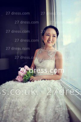 Sequins Wedding Dresses UK Bridal Gowns Gorgeous A-line Ruffles Crystals Beaded Bateau Button Back