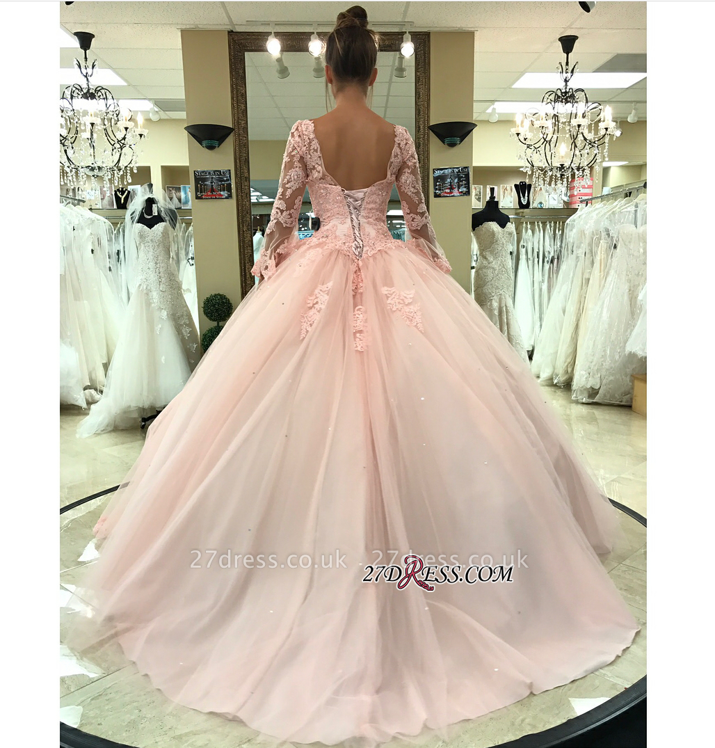 Long-Sleeve Pink Wedding Dress | Lace Ball-Gown Bridal Gowns
