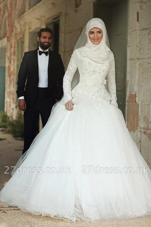 Gorgeous Long Sleeve Wedding Dress Tulle Lace Appliques Belt